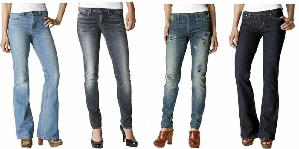 LEVI'S:Levi's kommer har kommet med endel slengbukser denne sesongen, men du finner også skinny jeans. Fra Venstre: Levi's Vintage Flare (kr423), Levi's Moderne Slight Curve Skinny Jeans (kr 531), Levi's Blanket Lines Skinny Jeans (kr 695), Levi's Curve Flare (kr 369).