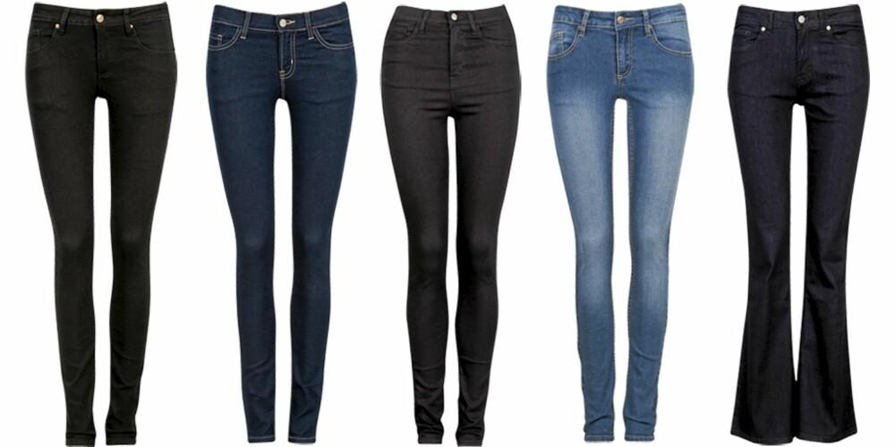 CUBUS: Cubus har flest skinny jeans denne sesongen, men du finner også bukser med sleng. Modellene får du i de fleste farger, både vasket, mørk blå og svart. Fra venstre: Cubus svart (kr 399), Cubus mørk blå (kr 299), Cubus høyt liv (kr 399), Cubus vasket (kr 199),Cubus sleng (kr 399).