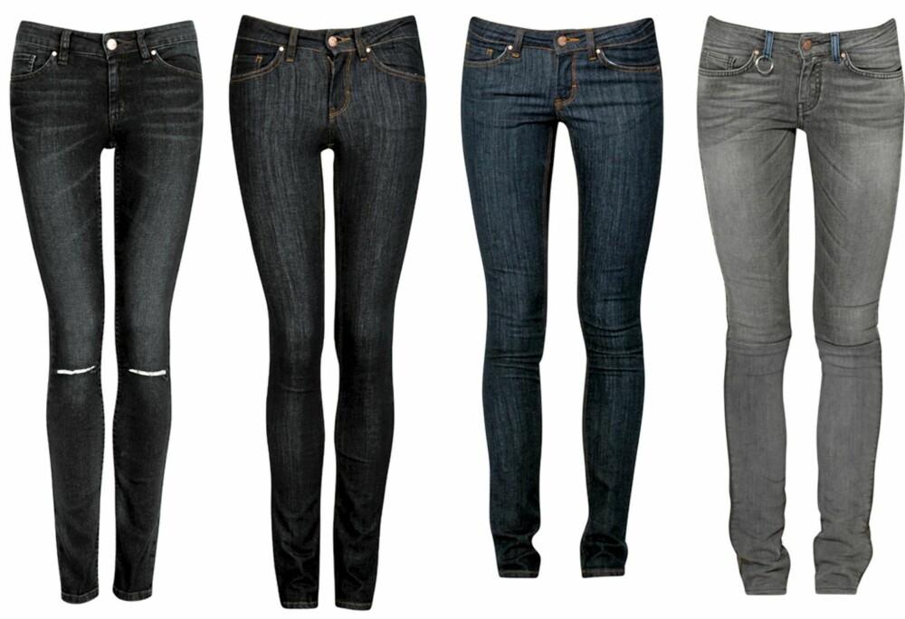 NEVER DENIM: har en ny jeansmodell denne høsten, som heter Kick. Med denne buksa lover de perfekt rumpe på et blunk.Fra venstre: Never Denim Kick i blå/svart (kr 499), Never Denim Kick Rinse (kr 499), Never Denim Kick mørk blå (kr 499), Never Denim Kick grå (kr 699).