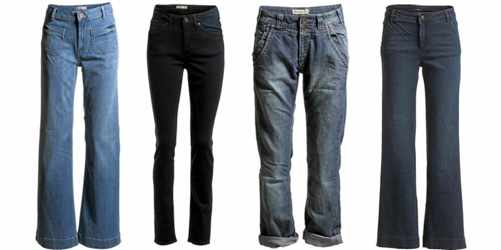 LINDEX: Lindex har noe for enhver smak, og du finner både baggy jenas, slengbukser og skinny jeans.Fra venstre: Lyseblå med vide ben og lommer foran, Lindex (kr 499), skinny jeans med høyt liv fra Lindex (kr 399), Lindex sin baggy variant (kr 499), med rette ben og vidde fra Lindex (kr 399).