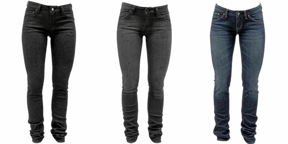 WESC: WESC har satset på skinny jean i høst, og modellen finnes i flere farger og vask. Fra venstre: WESC svart (kr 1199), WESC mørk grå (kr 899), WESC blå (kr 899).