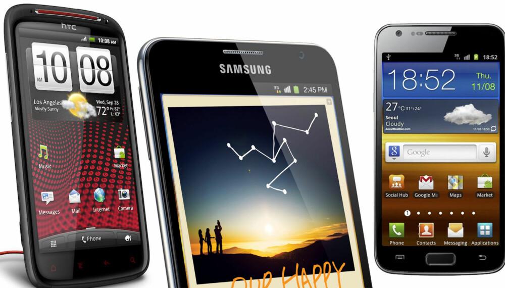 FREMTIDSRETTET: Disse mobilene setter tonen for hva vi sannsynligvis får se av nye modeller neste år. HTC satser på bedre lyd, mens Samsung går får store, skarpe skjermer og støtte for 4G.