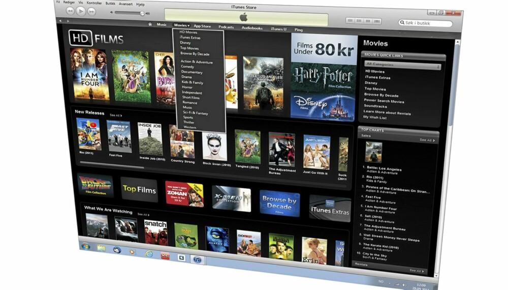 LEI FILM: Nå kan du leie film via iTunes App Stor med norsk konto.