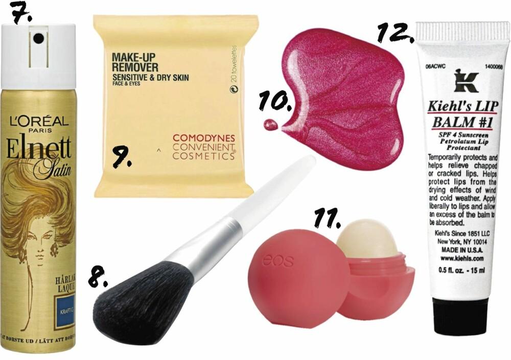 SKJØNNHETSKUPP: 7. L'Oréal Elnett Satin hårlakk 75 ml (kr 49) 8. Depend Makeup Brush Large (kr 79) 9. Comodynes Make-Up Remover wipes for sensitiv og tørr hud (kr 49) 10. MNY Nail Polish (kr 39) 11. EOS Lip Balm Summer Fruit (kr 79) 12. Kiehl's Lip Balm nr. 1 (kr 95)