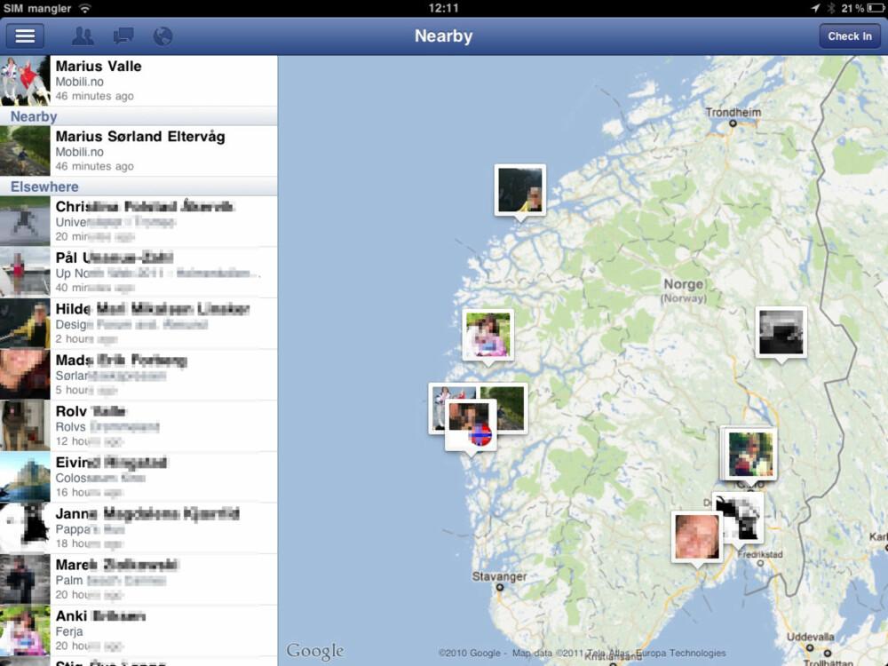 INNSJEKKING: Du får oversikt over hvem som har sjekket inn hvor, og kan se disse på kartet.