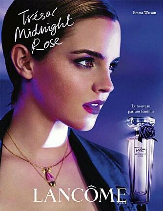 Emma Watson er Lancômes nye ansikt. Her i en kampanje for den nye duften Trésor Midnight Rose.
