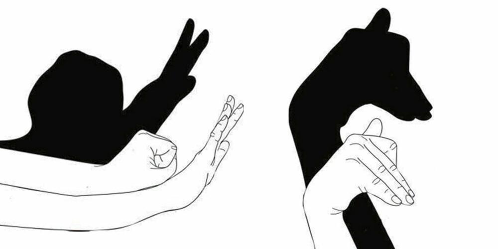 SNEGLE OG SJIRAFF: Du må bevege hele kroppen din for å få sneglen til å skli framover. Vift gjerne litt med følehornene underveis. Du kan få sjiraffen til å streife omkring og snu på hodet ved å bøye litt i håndleddet mens du lar den gå forover.