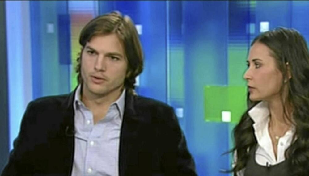 SKILSMISSE: Det er snart slutt på forholdet mellom det umake paret Ashton Kutcher og Demi Moore.