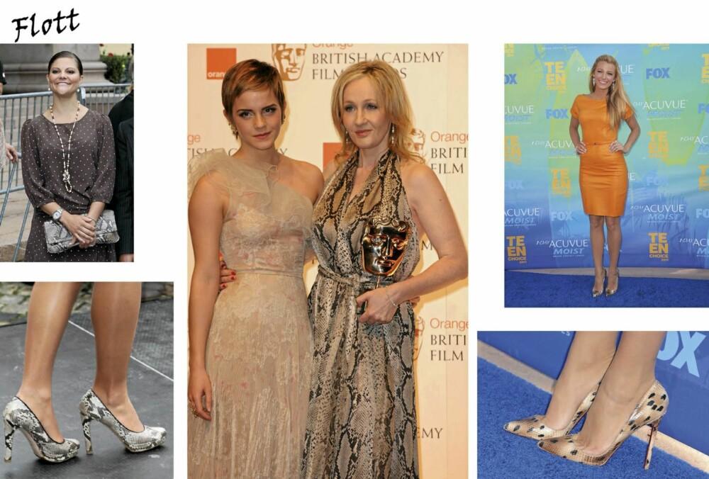 FLOTT: Kronprinsesse Victoria, J.K. Rowlings og Blake Lively stråler i slangeskinnsmønster. Er du litt forbeholden til hele trenden? Da vil vi anbefale å gjøre som Blake eller Victoria, og gå for slangeskinnsmønstrede sko eller veske.