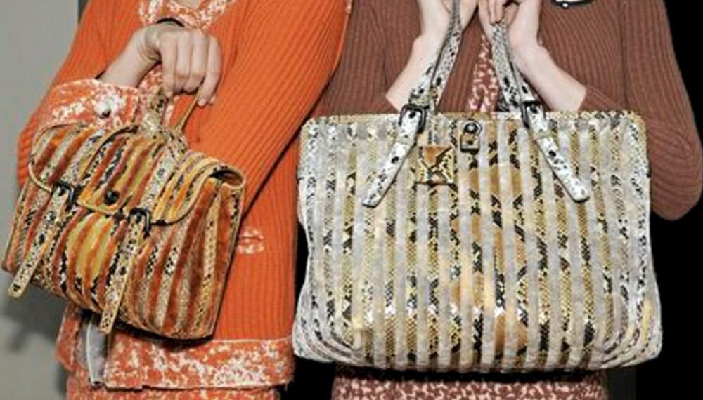 PYTON: Bottega Veneta var en av mange som viste slangeskinn på catwalken. Her i veskeformat.
