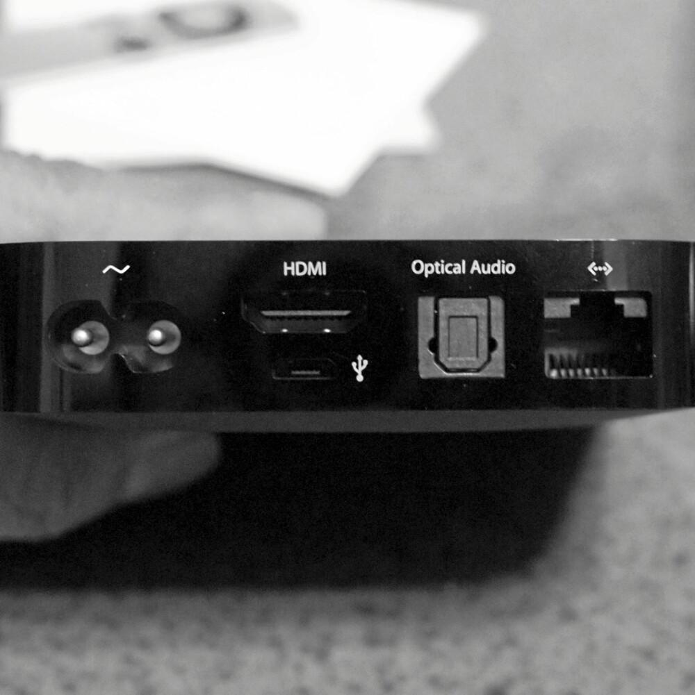 OPTISK LYD: Apple TV har en digital lydutgang som du kan koble til TV-ens lydanlegg. Apple TV leverer 5.1 lyd.