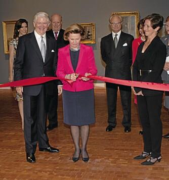 KLIPPET SNOREN: Dronning Sonja åpnet utstillingen «Luminous Modernism: Scandinavian Art Comes to Amerika» i New York torsdag.