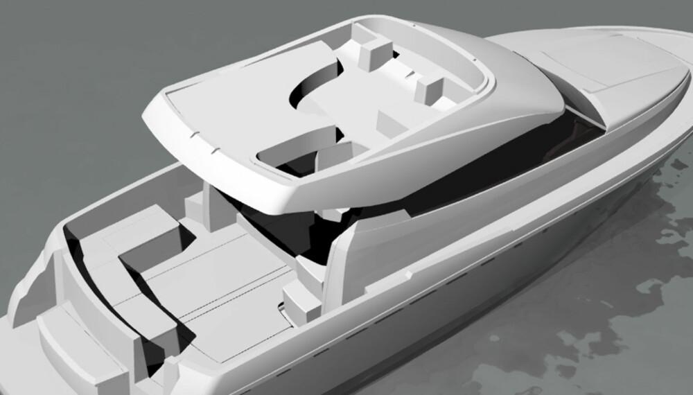 DOBBEL: Den nye 39-foteren lages i både flybridge- og hardtoppversjon.