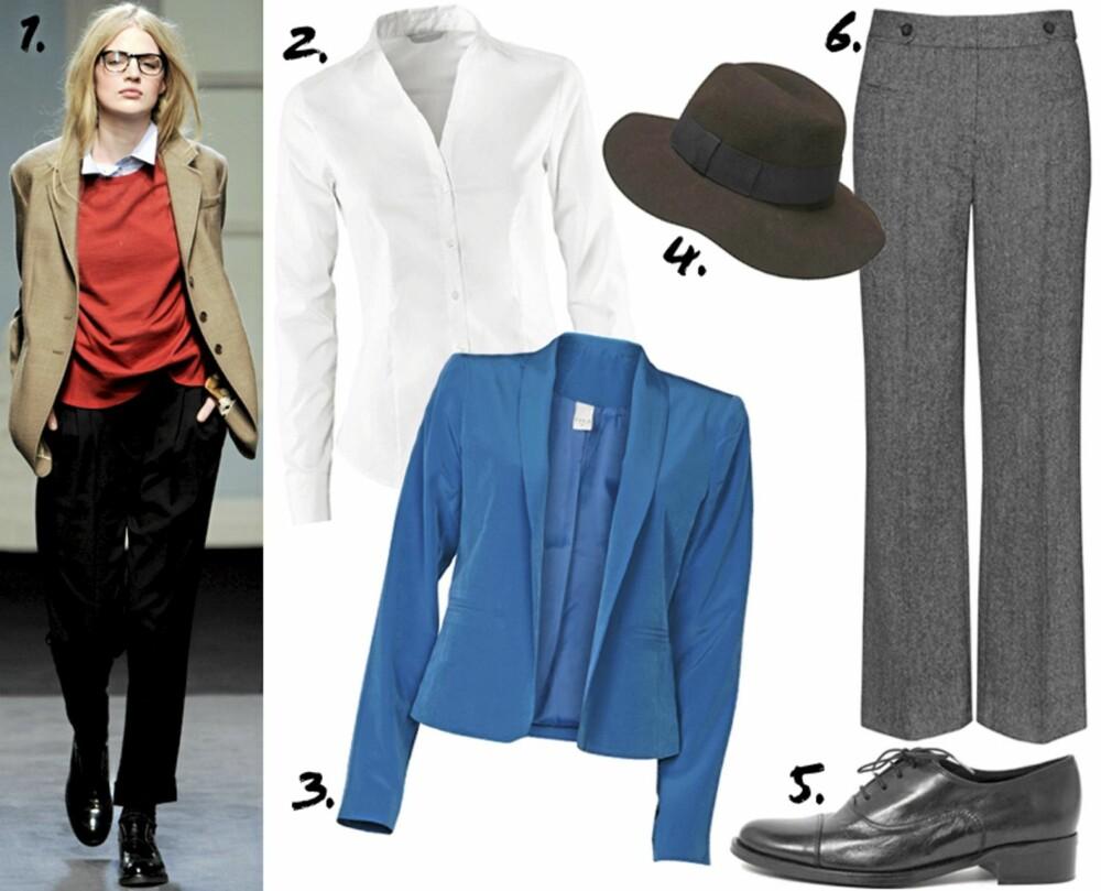 ANDROGYN: 1. På catwalken til Paul Smith 2. hvit skjorte fra HM (kr 149) 3. Blazer fra Vila (kr 500) 4. Hatt fra Lindex (kr 199) 5. Brogues fra Bianco(kr 900) 6. Dressbukser fra KappAhl (kr 499)