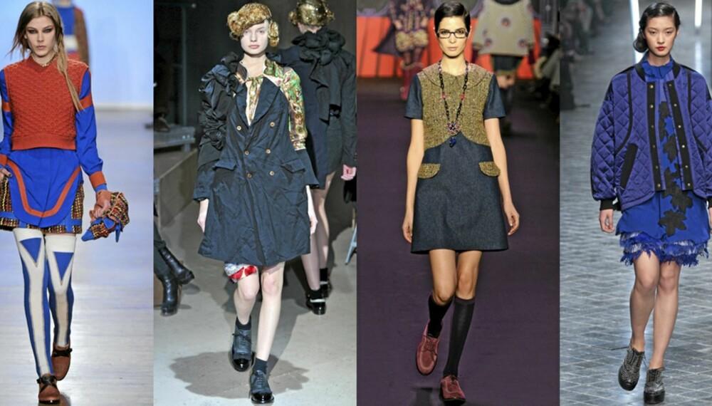 MIKS: Flere designere blandet feminien antrekk med maskuline sko. Her fra catwalken til henholdsvis Rag Bone, Comme des Garcons, Anna Sui og Sonia Rykiel.