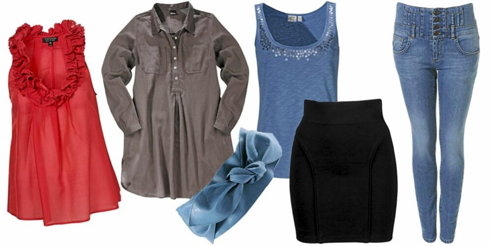 FRA VENSTRE: Tubika fra Topshop (kr 270), skjorte fra Gina Tricot (kr 149), belte fra Asos (kr 116), singlet fra Esprit (kr 199), skjørt fra Bikbok (kr 149), bukse fra Topshop (kr 462).