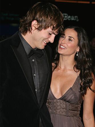 LYKKELIGE: Ashton Kutcher og Demi Moore strålte av lykke da de ble fotografert sammen senhøstes 2006. Fem år etter er katastrofen et faktum.