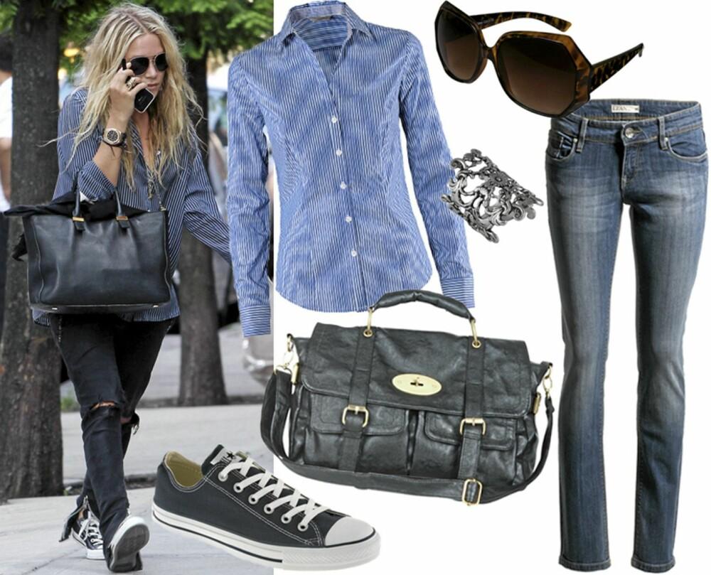 HVERDAG: Sko fra Converse All Star/Nelly.com (kr 699), skjorte fra HM (kr 149), veske fra Cubus (kr 299), ring fra Indiska (kr 69), solbriller fra Glitter (kr 99), jeans fra Lindex (kr 399).