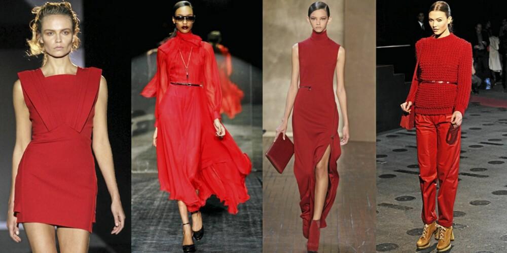 PÅ CATWALKEN: Det flommet over av røde antrekk på catwalken. Her fra henholdsvis Hakaan, Gucci, Akris og Paul Joe.