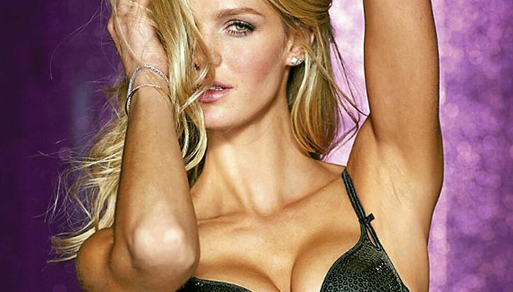 UNDERTØY: Victoria's Secrets modell Erin Heatherton er sexy i svart undertøy.