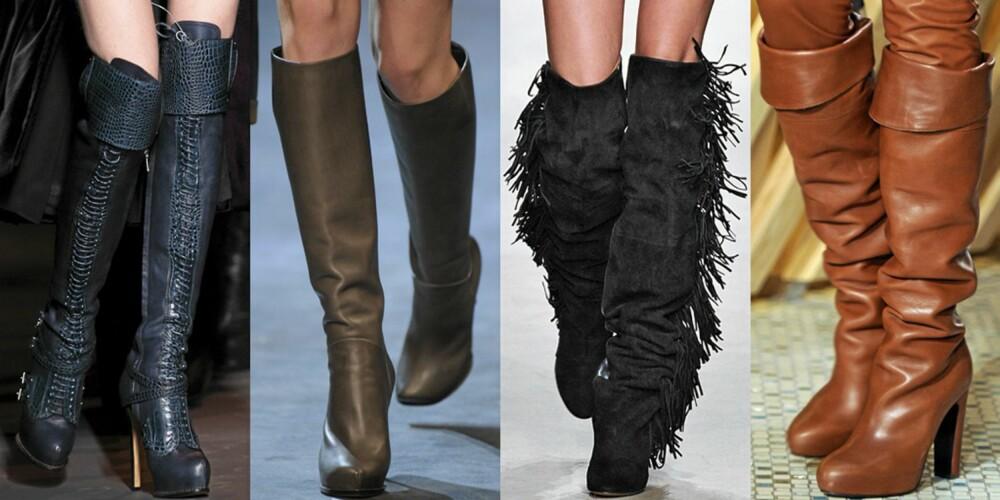 PÅ CATWALKEN: Høye støvletter på visningene til henholdsvis Dior, Lanvin, Isabel Marant og Hèrmes.