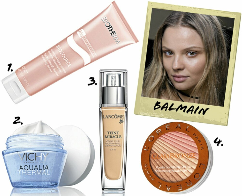HUD: 1. Biotherm Biosource Hydra-Mineral Cleanser Softening Mousee (kr 210) 2. Vichy Aqualia Thermal for dehydrert hud (kr 209) 3. Lancôme Teint Miracle Foundation SPF 15 (kr 385) 4. L'Oréal Paris Glam Bronze Shimmering Powder (kr 179)