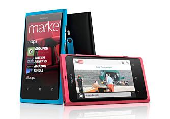 NOKIA-PREMIERE: Nokia Lumia 800 er den ene av Nokias to første Windows-mobiler. Dette er toppmodellen.