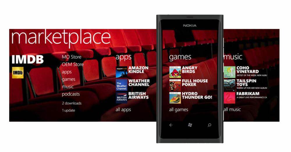 UTVALG: Det er langt fra like mange apper å velge mellom på Windows Phone 7 som Android og iPhone, men utvalget har tatt seg opp siden lanseringen for et år siden.