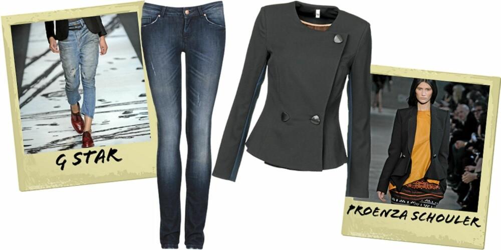 PERFEKT ANTREKK: Jeans fra Never Denim/Bik Bok (kr 499), blazer fra Vero Moda (kr 700).