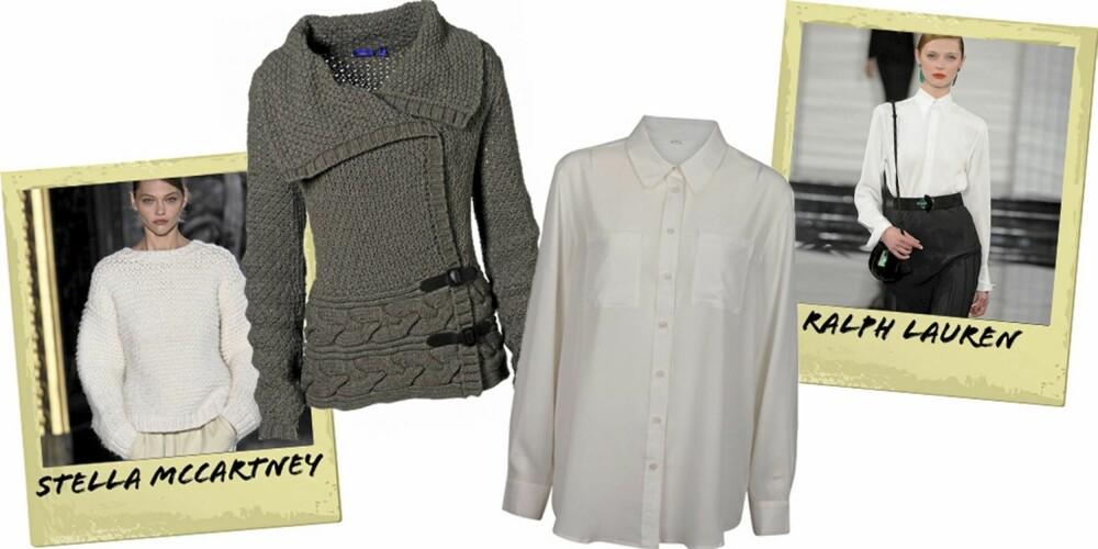 VARM OG TRENDY: Strikkegenser fra Mexx (kr 799) og hvit skjorte fra Bik Bok (kr 199).