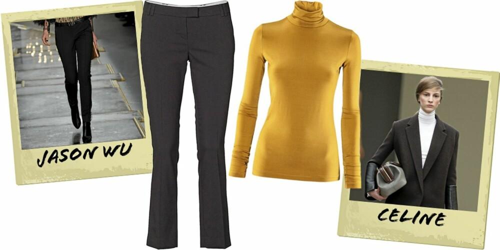 MOTERIKTIG: Smale dressbukser fra MQ (kr 599), okergul pologenser fra HM (kr 199).