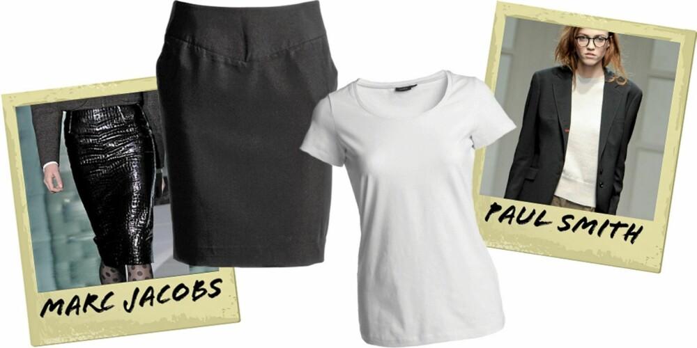 KLASSIKERE: Knelangt skjørt fra Ellos (kr 299), hvit T-skjorte fra Lindex (kr 99).