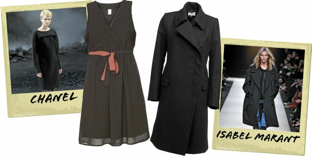 SVART OG LEKKER: Svart kjole fra Vila (kr 300), svart kåpe fra Lindex (kr 1299).