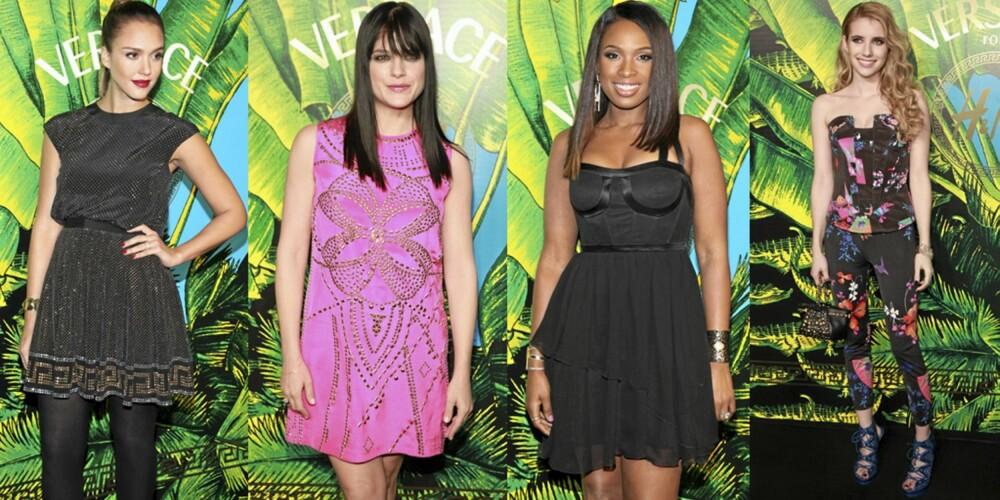 KJENDISFAVORITTER: Hollywoodstjernene flokket seg til Versace-visningen i New York, og var selvføgelig kledd i plagg fra kolleksjonen. Fra venstre ser vi Jessica Alba, Selma Blair, Jennifer Hudson og Emma Roberts.