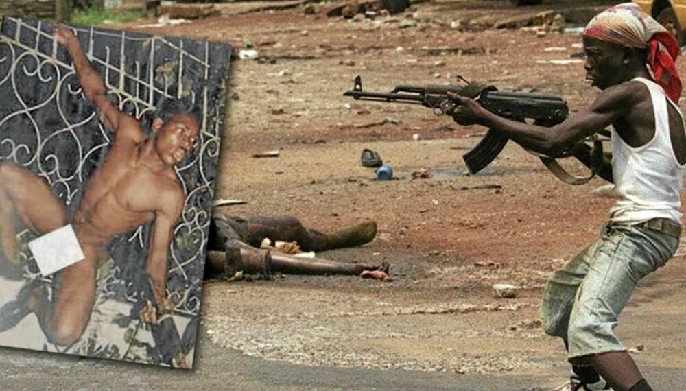 """Slik kjempet Joshua Blahyi og hans """"Butt Naked""""- brigade under borgerkrigen i Liberia. Poenget var å se ut som ville dyr. De yngste av Blahyis soldater var også i åtteniårsalderen."""