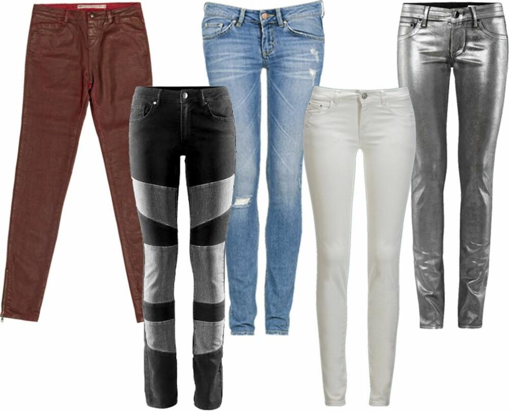 FRA VENSTRE: 1. Burgunderrød jeans fra Zara (kr 559) 2. Patchwork bukser fra H&M (kr 399) 3. Klassiske blå jeans bra Bik Bok (kr 499) 4. hvite jeans fra Gina Tricot (kr 199) 5. Metalliske jeans fra H&M (kr 399)