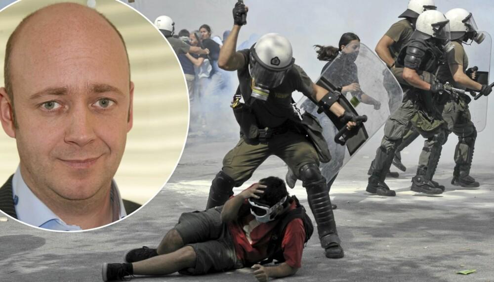 TØFFE TAK: Mange demonstrasjoner i Hellas har utartet, men det er først og fremst de økonomiske problemene som rammer den jevne greker som bekymrer Nikis. Foto: