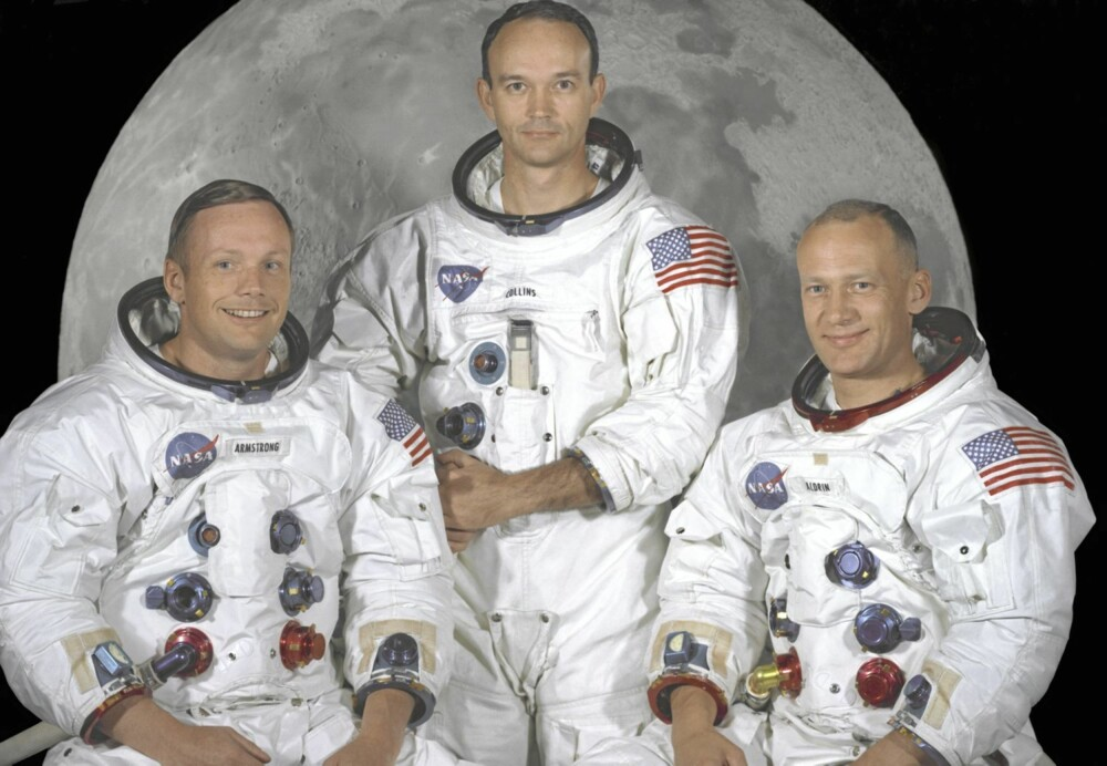 Apollo 11-mannskapet (Armstrong, Collins og Aldrin t.h.) har rukket å passere 80 år.