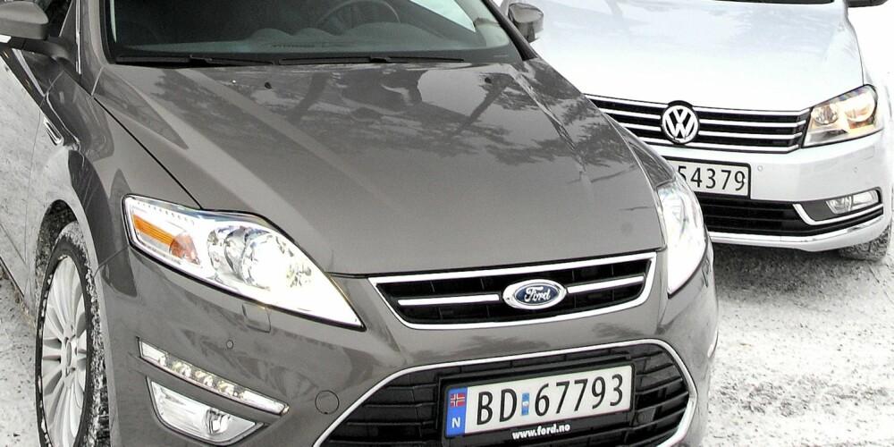 LIKE GODE: VW Passat og Ford Mondeo er jevngode og fikk begge terningkast fem i vår test. Nordmenn flest ser ut til å like Passat best.