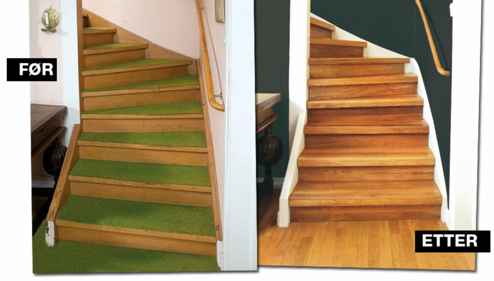 BLIR NY: Slik ser en trapp ut før og etter Lundbergs trappefornyelse.