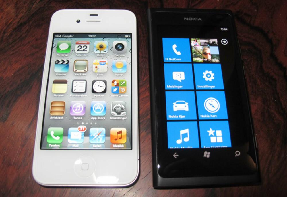 HENDIG: Lumia 800 er omtrent så stor som iPhone, tross større skjerm. Dette gir den en hendig størrelse.