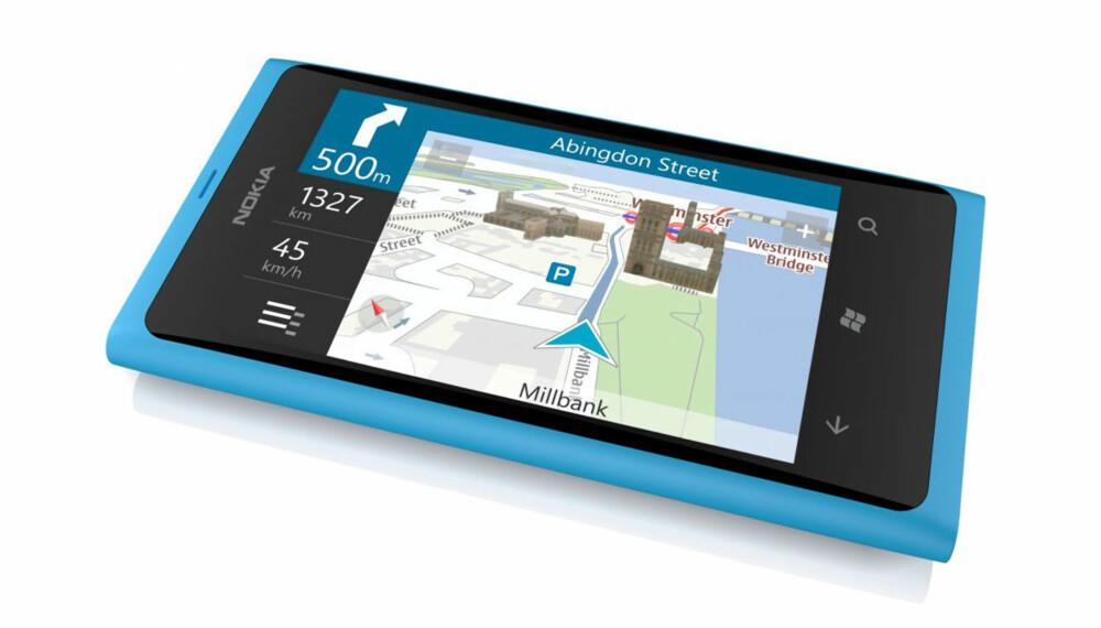 GPS INKLUDERT: Nokia har inkludert GPS-navigasjonsløsning i prisen. Du slipper å betale ekstra for å bruke mobilen til bilnavigasjon.
