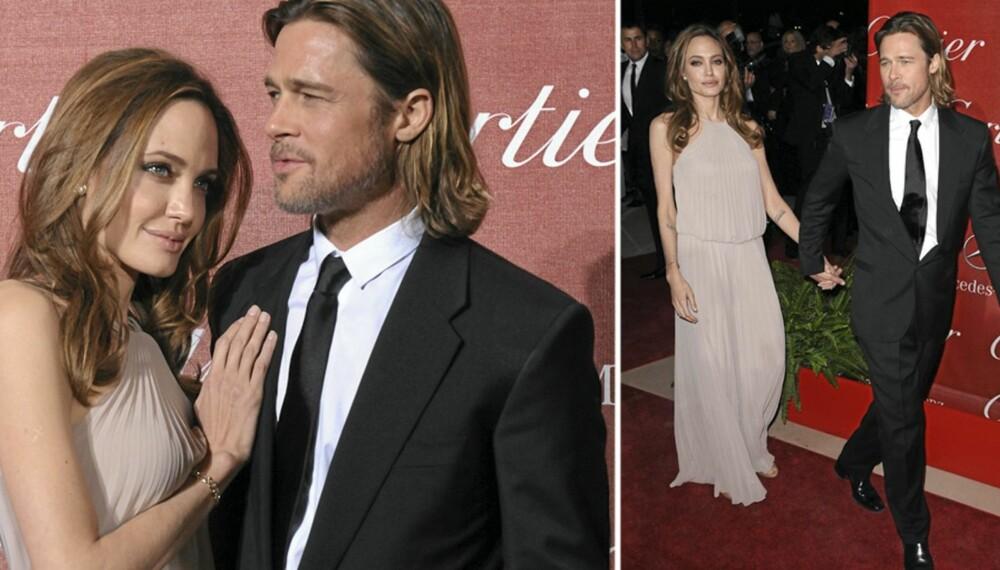 KJERRINGA MED KAREN MED STAVEN: Brad stilte på den røde løperen med spaserstokk, noe ektefellen Angelina ikke har det spor imot.