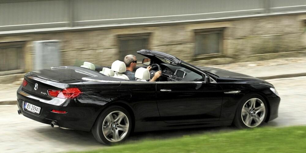 HOLD PÅ HATTEN: BMW 640i cabriolet ser snill ut, men sørger for umiddelbar hårfønereffekt når du gir på.