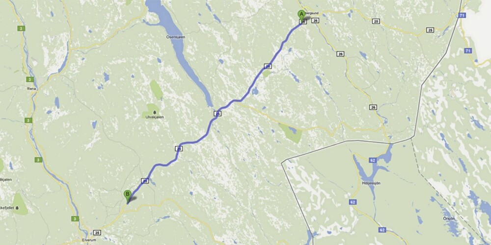 Rv 25 Elverum-Trysil, Hedmark