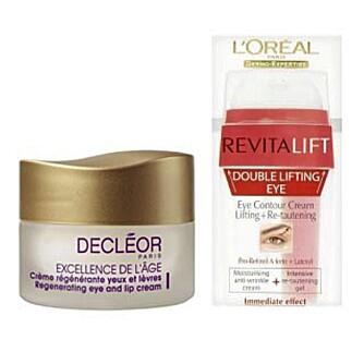DYRT OG BILLIG: I vår lille ingredienssjekk, kom Decléor sin mer ekslusive øye- og leppekrem bedre ut enn testvinneren L'Oreal Paris Dermoexpertise Revitalift Double Lifting Eye Cream.