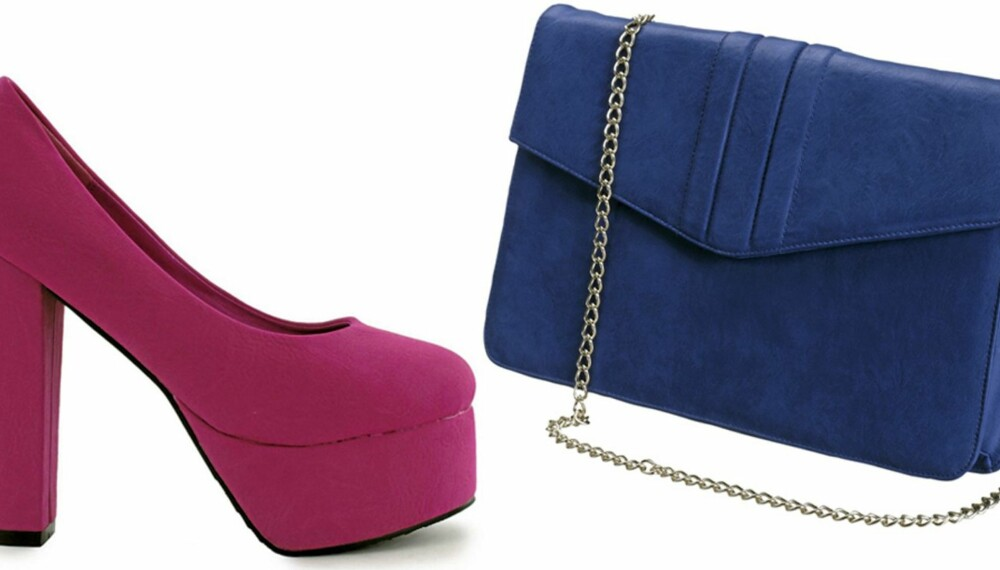 FARGERIKT TILBEHØR: Rosa sko fra Nelly.com (kr 299), blå vekse fra Gina Tricot (kr 249).