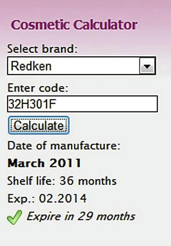 CHECK COSMETIC: Her ser du kosmetikk-kalkulatoren til Check Cosmetic. Tast inn batch-koden, og alt dukker opp på skjermen på under ett sekund. Smart!