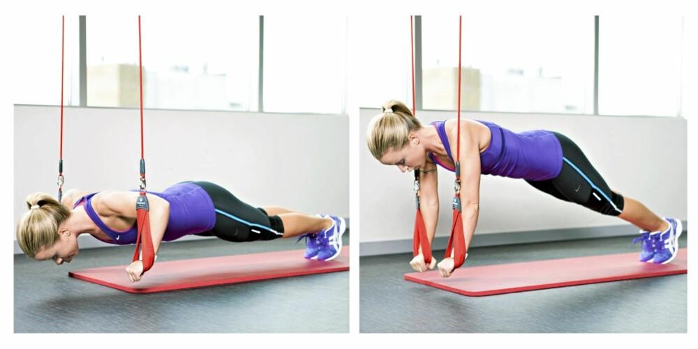 5. PUSH-UPS I SLYNGE: Bryst, triceps og mage/rygg.
