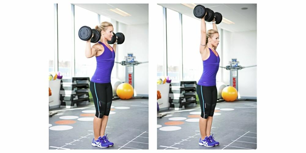 7. MILITÆRPRESS MED VEKTER: Skuldre, triceps og mage/rygg.